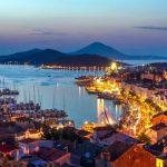 Evening view of Mali Losinj Mali Lošinj Is A Town On The Croatian Island Of Lošinj, In The Northern Adriatic Sea.
